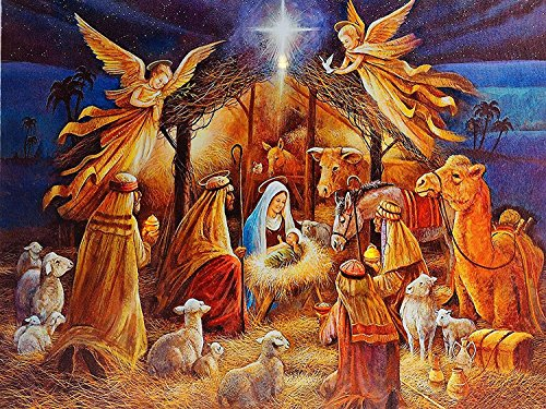 TOYLAND 30 x 40cm - Light Up Nativity Canvas - Decoraciones navideñas Tradicionales - Christmas Wall Art