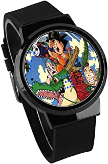 Montres Enfants Garçons,Montre Dragon Ball Anime Super Saiyan Étanche Écran Tactile Montre Gun Couleur Étui Noir Bracelet