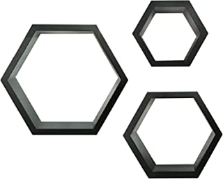 GALLERY SOLUTIONS Black HexaGallery Geometric Decorative Wall Mounted Floating Shelves, Set of 3
