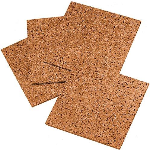 "Quartet Cork Tiles, Cork Board, 12"" x 12"", Corkboard, Wall Bulletin Boards, Natural, 4 Pack, New"