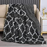 Faux Fur Weighted Blanket for Adults 15lbs, Pawque Warm Fuzzy Sherpa Weighted Throw, Super Soft Breathable Shaggy Faux Fur Blanket for Bed Sofa Couch, 60 x 80 inches, Moroccan Dark Grey