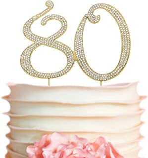 80 GOLD Cake Topper | Premium Sparkly Crystal Rhinestones | 80th Birthday or Anniversary Party Decoration Ideas | Perfect Keepsake (80 Gold)