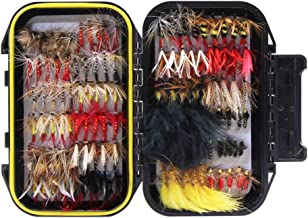 Croch 60pcs / 120pcs Fly Fishing Dry Flies Wet Flies Assortment Kit with Waterproof Fly Box for Trout Fishing