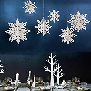 DegGod 12 Pcs Winter Christmas Hanging Snowflake Decorations, 3D Cardboard Sparkling Snowflakes Garland for Xmas Tree Home...