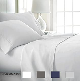 Full-Xl sheets Extra Deep Pockets 15 Inch 500 Thread Count 4 Piece Sheet Set 100% Cotton Sheet Set White Solid Sheet,long staple cotton Bedsheet And Pillow Cover,Sateen Finish,Soft,Breathable