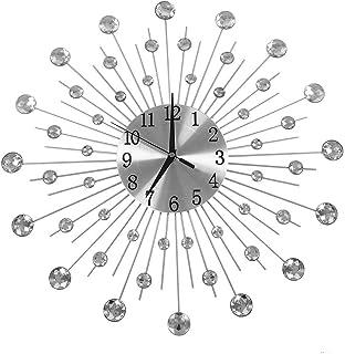 xuuyuu 壁掛け時計 ウォールクロック 掛け時計 花柄の壁時計 ダイヤモンド インテリア 室内 部屋装飾 キラキラダイヤモンド ギフト 欧式 モダン ファッション 高級 立体 電池式 静音 ヨーロッパスタイル
