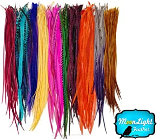 Moonlight Feather, Hair Extension Feathers - Wholesale Colorful Thin Long Rooster Hair Extension Feathers (Bulk) - 100 Pieces