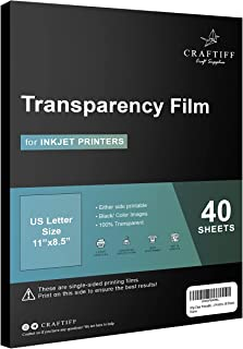 Ohp Clear Printable Transparency Film 8.5 x 11 Inches for Overhead Projectors, for Inkjet Printers, 40 Sheets