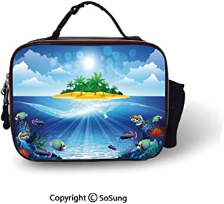Aquarium Lunch Bags For Women&Men Deserted Tropical Island with Palm Trees Various Exotic Sea Animals and Plants Lunch Cooler Tote,10.6x8.3x3.5 inch,Multicolor