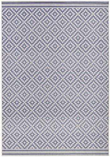 bougari In- und Outdoor Teppich Raute Blau Creme, 140x200 cm