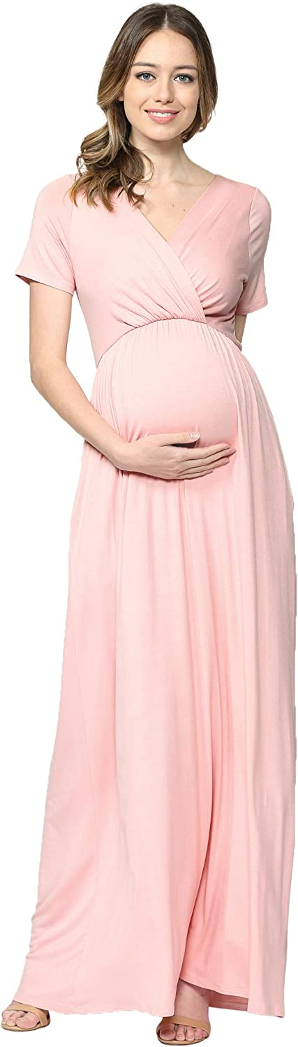 LaClef Women's Maternity Maxi Dress with Sh for Baby 5% OFF Pocket Max 51% OFF Side