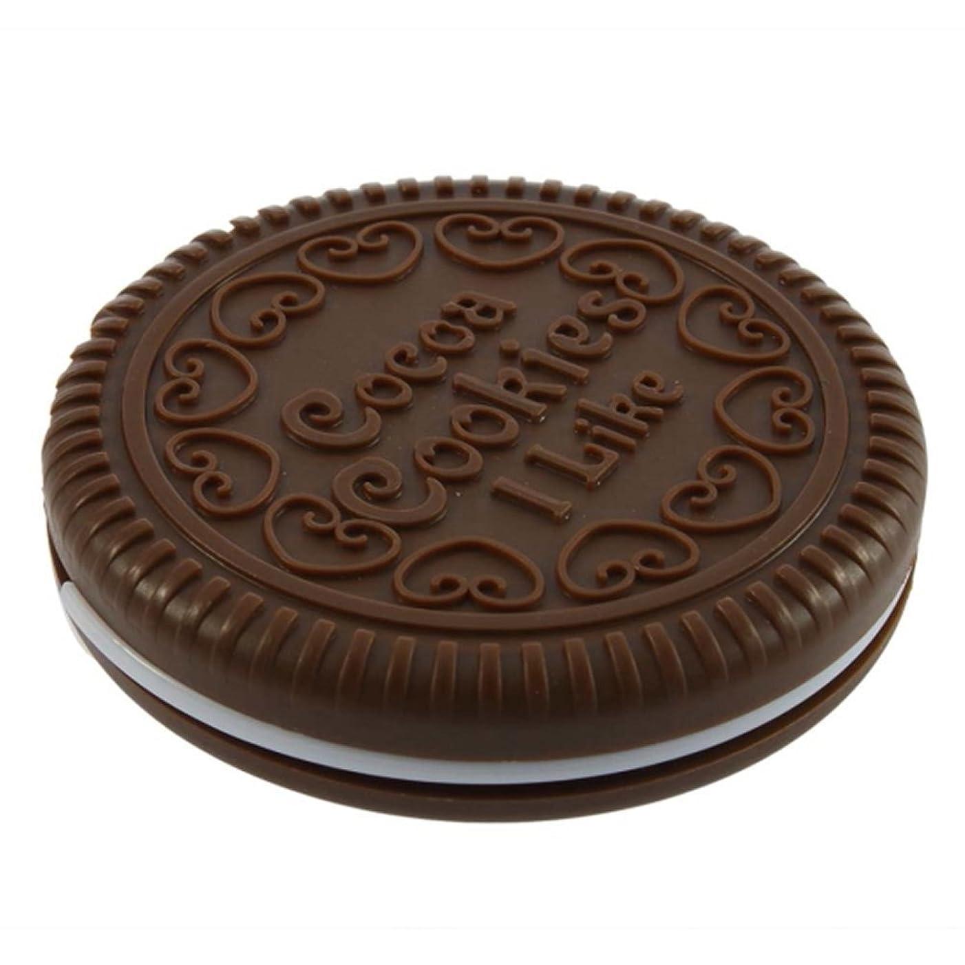きしむロンドン不要SODIAL ポータブルな可愛いなチョコレートクッキーの形のミラー+くし レディー ガール