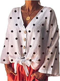 Women V Neck Button Down Tie Front Shirt Polka Dot Long Sleeve Loose Casual Blouse Tops