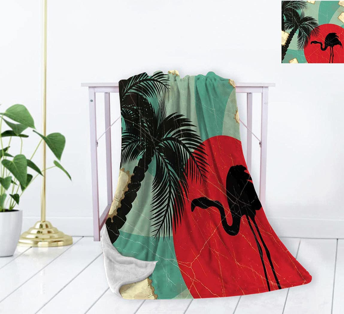 Tropical Luxury Flannel Throw Blanket Super Special SALE held Retro Grunge Style Hawaii San Jose Mall