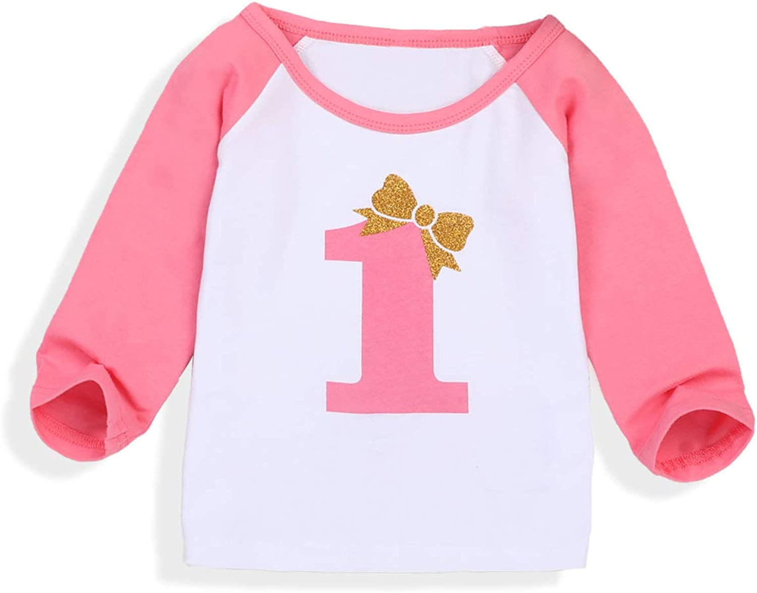 Baby Girls Boys 1st Birthday T Shirt One Letter Print Long Sleeve Tees for Kids First Birthday Gift