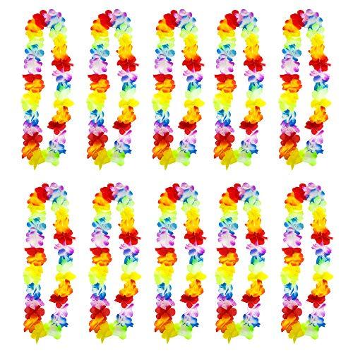 AMAZING1 10 collares hawaianos con flores Lei Aloha Hawaii Luau Tropical Floral Collar Perfecto Prop para despedidas de soltero y soltero