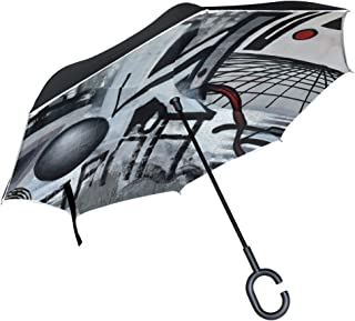 DNOVING Double Layer Inverted Grafitti Lost Places Abandoned Train Station Umbrellas Reverse Folding Umbrella Windproof Uv Protection Big Straight Umbrella For Car Rain Outdoor With C-shaped Handle