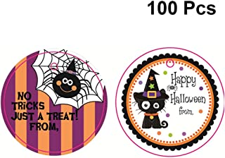 Hemoton 100pcs Halloween Greeting Cards Assortment Greeting Gift Cards Round Cartoon Tags for Halloween Party Spider and Cat Pattern for Each 50pcs