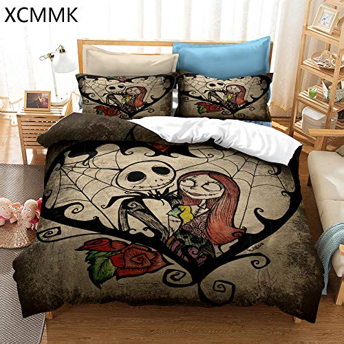 XCMMK The Nightmare Before Christmas Juego de Funda nórdica Estilo espantapájaros Sally y Jack Skellington Funda nórdica y 2 Fundas de Almohada (240 x 260 cm y 50 x 75 cm)