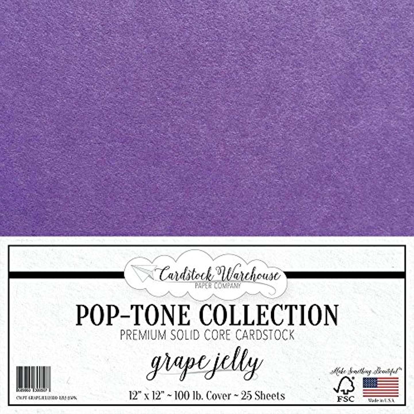 Grape Jelly Purple Cardstock Paper - 12 x 12 inch 100 lb. Heavyweight Cover - 25 Sheets from Cardstock Warehouse