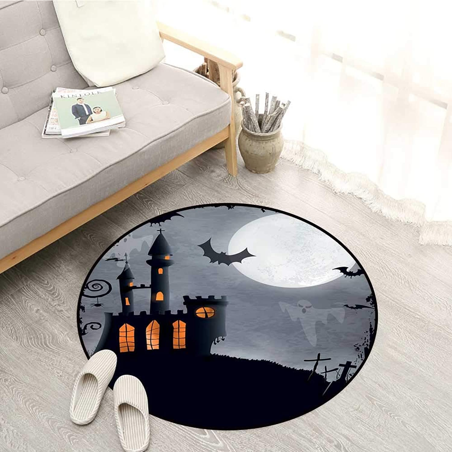 Vintage Halloween Skid-Resistant Rugs Halloween Themed Asymmetric Caste with Scary Bats and Ghosts Full Moon Sofa Coffee Table Mat 4'3  Black Grey