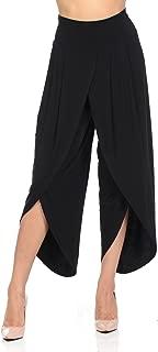 Women's Layered Wide Leg Flowy Cropped Palazzo Pants, 3/4 Length High Waist Palazzo Wide Legs Capri Pants