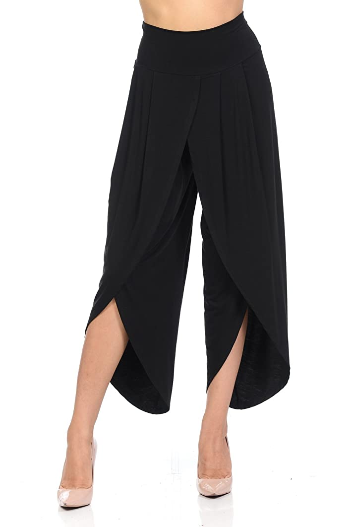 Ladybug Women's Layered Wide Leg Flowy Cropped Palazzo Pants, 3/4 Length High Waist Palazzo Wide Legs Capri Pants