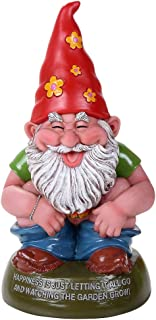 Pacific Giftware Hippie Gnome Defecating Organically Home Grown Garden Squatter Gnome Statue 4H
