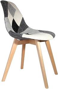 THE HOME DECO FACTORY Chaise Scandinave Patcwork, Bois, Gris-Blanc, 46,5 x 54 x 85 cm - 2 pièces