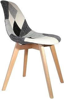The Home Deco Factory–Silla escandinava Patcwork, madera, Gris/Blanco/Negro, 46.5x54x85cm, 2 unidades