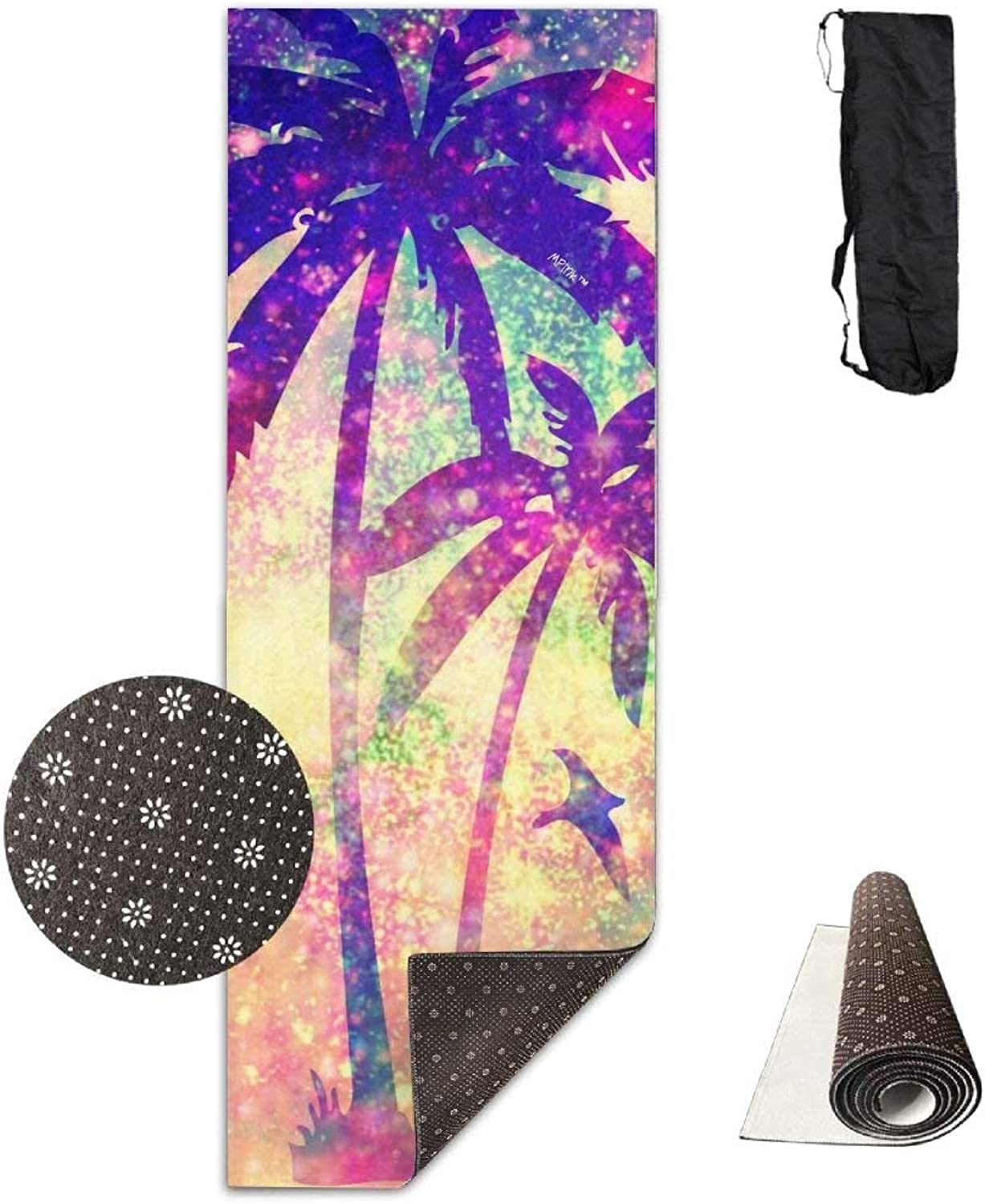 colorful Fluorescent Palm Trees Yoga Mat 72X24 Inch Premium Print NonSlip EcoFriendly AntiTear Floor Pilates Exercise Mat for Yoga, Workout, Fitness with Carrying Strap