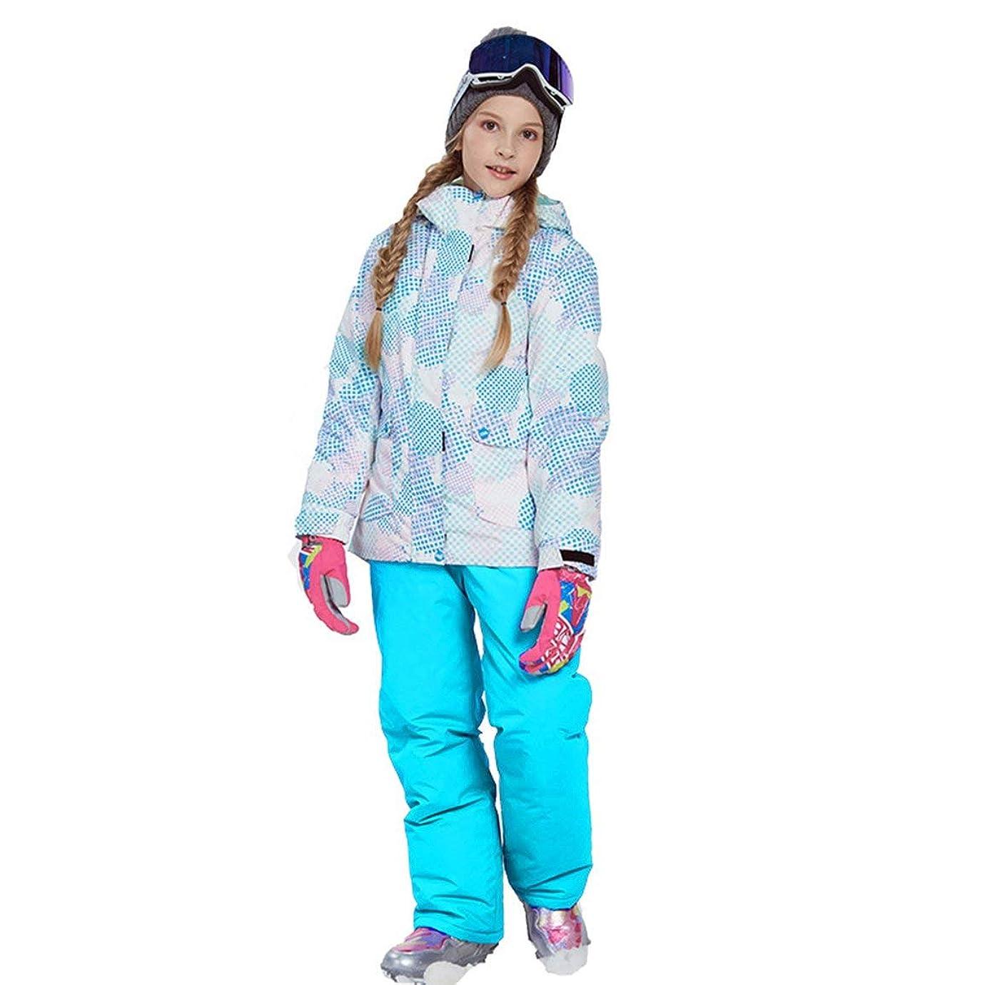 コカインボーカルマナーラブリーボーイズガールズウィンタースノーボードパーカージャケットスノービブスノースーツセット暖かいスノースーツフード付きスキージャケット+パンツ2個セット-ブルー146/152