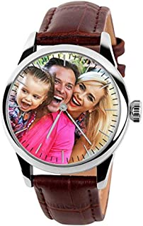 Qamra Personalized Graphic Photo Quartz Watch Leather Band Custom Any Picture Engrave Tex