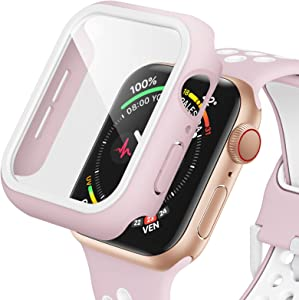 Dafill for Apple Watch Case 38mm Series 3/2/1 with Tempered Glass Screen Protector, Hard PC All Around Protective Cover Lightweight Ultra-Thin Bumper Compatible for iWatch 38mm - Pink/White