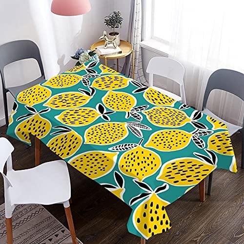 Cubierta de Mesa 3D, Mantel con patrón de Fruta de limón, Adecuado para Mantel de Picnic, Fiesta de cumpleaños, Cena, decoración del hogar M-12 140x210cm