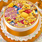 Winnie The Pooh Happy Birthday Personalised 7.5 INCH Edible Icing Cake Topper Decoration