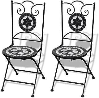 vidaXL Set 2 sillas Mosaico Asiento de cerámica jardín terraza balcón Negro y Blanco