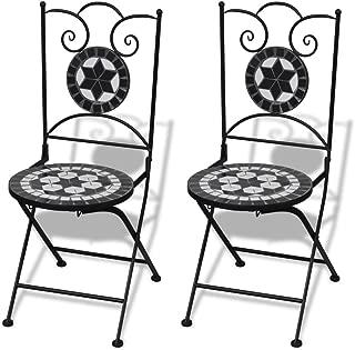vidaXL Set 2 sillas Mosaico Asiento de cerámica jardín