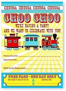 POP parties Train Party Large Invitations - 10 Invitations + 10 Envelopes