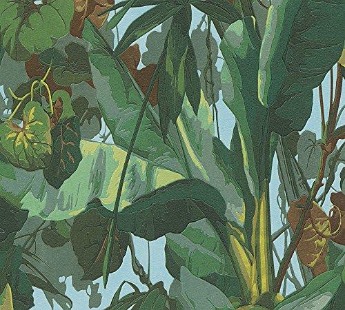 A.S. Création Vinyltapete Dekora Natur Tapete in Dschungel Optik 10,05 m x 0,53 m blau braun grün Made in Germany 958981 95898-1