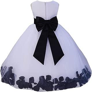 Wedding Rose Petals White Tulle Flower Petals Girl Toddler Gown Handmade 302T