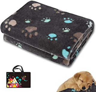 Allisandro 350 GSM-Super Soft and Premium Fuzzy Flannel Fleece Pet Dog Blanket, The Cute Print Design Washable Fluffy Blanket for Puppy Cat Kitten Indoor or Outdoor, Beige and Grey