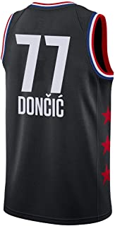 Camiseta de Baloncesto para Hombre, NBA, Dallas Mavericks #77 Luka Doncic. Bordado, Transpirable y Resistente al Desgaste Camiseta para Fan (All Stars Negra, XXL)