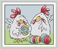 クロス ステッチ DIY 手作り刺繍キット 正確な図柄印刷クロスステッチ 家庭刺繍装飾品 イースターエッグチキンコンパニオン 40x50cm