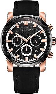 OCHSTIN Business Men Watch Leather Strap Quartz Sport Wrist Watch Calendar Fashion Casual Male Luminous Watch