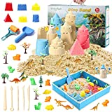 Play Sand Kit for Kids, Theefun 3lbs Moving Sand with 3 Colors, 46 Pieces Sand Play Set Included Free Sandbox, Castle Molds, 10 Dinosaurs Figures and 10 Dino Molds, Great Toys Gifts for Boys and Girls