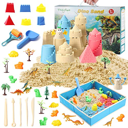 Play Sand Kit for Kids, Theefun 3lbs Moving Sand with 3 Colors, 46 Pieces Sand Play Set Included Free Sandbox, Castle Molds, 10 Dinosaurs Figures and 10 Dino Molds, Christmas Gifts for Boys and Girls