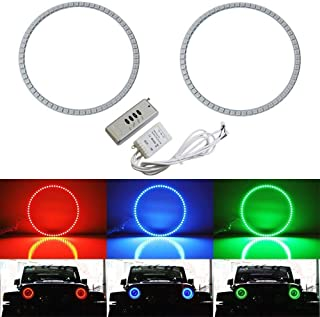 iJDMTOY 132-LED RGB Multi-Color LED Angel Eyes Halo Rings For Jeep Wrangler JK (Also fit any car with 7-Inch headlights)