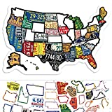 RV State Sticker Travel Map - 11' x 17' - USA States Visited Decal - United States License Plate Non Magnet Road Trip Window Stickers - Trailer Supplies & Accessories - Exterior or Interior Motorhome