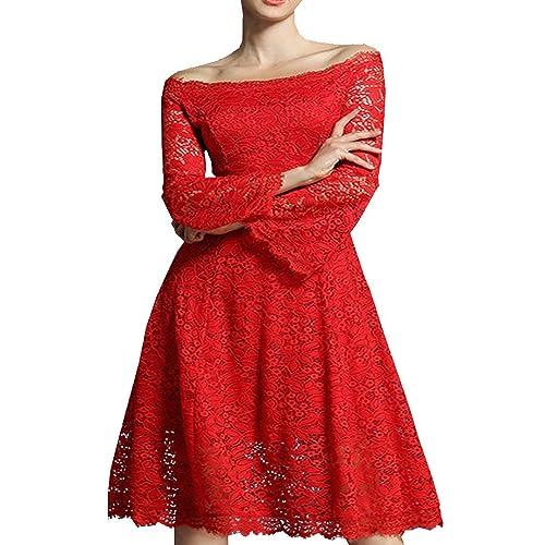 823882586b Aox Womens Elegant Long Sleeve Floral Chiffon Lace A Line Long Maxi Party  Evening Bridesmaid Swing